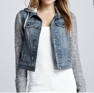 Free People Knit Denim Hooded Jacket